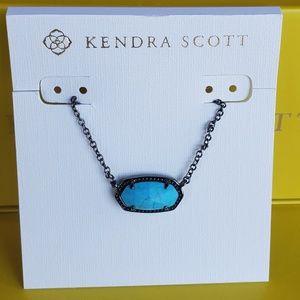 New Kendra Scott Gunmetal & Turquoise Elisa